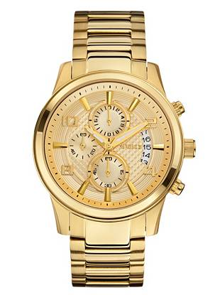 Give your everyday looks a sleek, modern finish with this sophisticated gold-tone watch. The chronograph design offers several key functions, making it both a versatile and stylish piece to own.