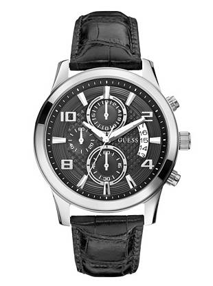 Black and Silver-Tone Masculine Retro Chronograph Watch