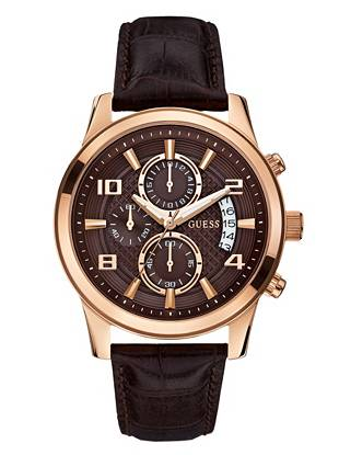 Brown and Rose Gold-Tone Masculine Retro Chronograph Watch