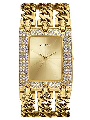 Gold-Tone Glitz Chain-Link Watch