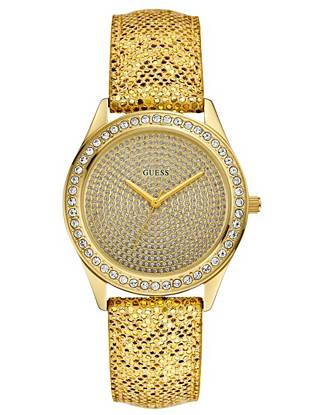 Add glimmering appeal with this head-turning gold-tone watch. It's a stylishly sparkling way to keep track of time. •Analog function •Watch dimensions in mm: 39/39/12 •Polished gold-tone case with crystal accents •Gold-tone dial with crystal accents •Leather strap with gold glitter finish. Adjustable. •Water resistant to 100m/330 ft •10 Year Limited Warranty