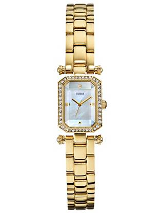 Embrace all-day chic with this undeniably ladylike watch. A mother-of-pearl dial and sparkling rhinestone trim make it the perfect signature piece. •Analog function •Watch dimensions in mm: 19/24/8 •Polished gold-tone case with pavé crystal embellishment •Mother-of-pearl dial •Polished gold-tone bracelet is self-adjustable •Water resistant •10 Year Limited Warranty