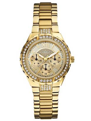 Perfect for the stylish girl on the go, this crystal-encrusted watch seamlessly blends form and function.