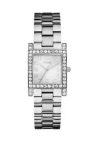 Silver-Tone Crystal Watch