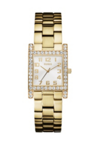Yellow Gold-Tone Crystal Watch