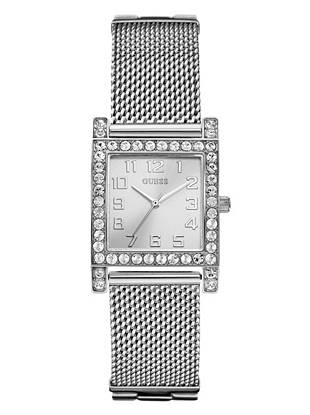 Every ensemble needs a hint of sparkle—and this covetable crystal-embellished watch is the perfect way to work it into your everyday look.  Wear it solo for refined shine, or stack it with other sparkling pieces and prepare to dazzle. •Analog function •Watch dimensions in mm: 38.5/38.5/9.5 •Polished steel case with crystal detail •Silver-tone dial •Self-adjustable steel mesh bracelet •Water resistant •10 Year Limited Warranty