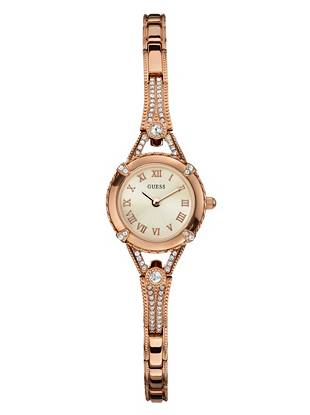Artistically detailed, this slim rose gold-tone watch brings sophisticated shine to every look. Sport it solo for a refined look or stack it with chic mixed-metal bangles to make a statement.