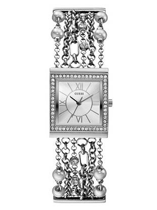 Silver-Tone Embellished Bracelet Watch