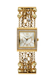 Yellow Gold-Tone Embellished Bracelet Watch