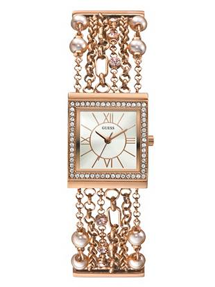 Work a flirty feminine angle on edgy style with this embellished chain-bracelet watch. Rose gold-tone links with luxe crystals and faux pearls make it a true head-turner.  •	Analog movement •	Watch dimensions in mm: 30/26/9 •	Polished rose gold-tone case with crystal detail •	Rose gold-tone dial •	Rose gold-tone chain bracelet with crystal and faux pearl embellishment is self-adjustable •	Water resistant •	10 Year Limited Warranty