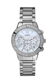 Silver-Tone Crystal Sport Chronograph Watch