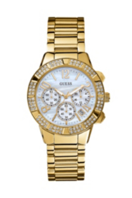 Yellow Gold-Tone Crystal Sport Chronograph Watch