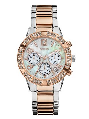 A radiant mother-of-pearl dial and sophisticated two-tone design make this watch ideal for the girl with glamorous style. Rows of shimmering crystals add a welcome dose of sparkle that you (and everyone else) will love.