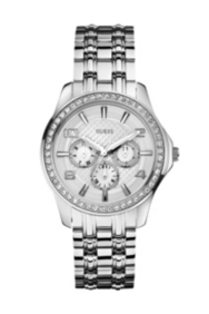 Silver-Tone Polished Glamour Watch