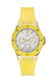 Yellow and Gold-Tone Feminine Sport Watch