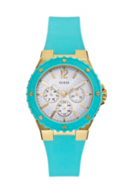 Turquoise and Gold-Tone Feminine Sport Watch