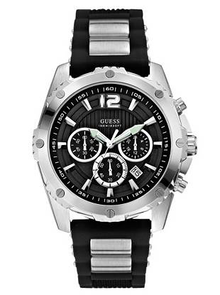Sporty details make this watch a trend-right way to do casual days. Team it with a tee and jeans for the ultimate in all-day   style. •Chronograph function: stopwatch, day, date and 24 hour international time •Watch measurements in mm: 47/47/14 •Brushed and polished silver-tone case •Black dial •Black silicone strap with brushed silver-tone links •Water-resistant to 100m/330ft •10 Year Limited Warranty