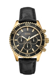 Gold-Tone Crocodile-Embossed Sportwise Chronograph Watch
