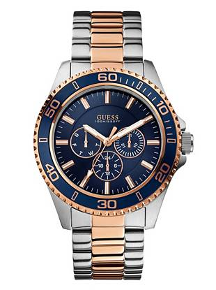 Boldly designed with several key functions, this watch embodies modern masculinity. High-impact navy is offset by classic silver and rose gold tones, making it ideal for both day and night wear.