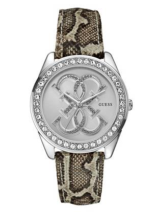 Python-Print and Silver-Tone Dazzling Iconic Sport Watch