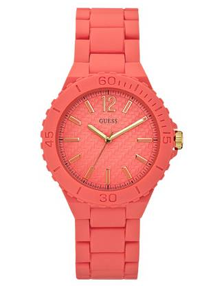Sports-inspired statements are a favorite theme this season—work a subtle take on the runway-inspired look with this functional-meets-feminine timepiece. It's the perfect blend of casual and chic. •Analog function •Watch dimensions in mm: 39/39/13 •Coral polyurethane case  •Coral dial •Coral bracelet •Water resistant up to 100 m/330 ft •10 Year Limited Warranty