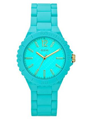 Sports-inspired statements are a favorite theme this season—work a subtle take on the runway-inspired look with this functional-meets-feminine timepiece. It's the perfect blend of casual and chic. •Analog function •Watch dimensions in mm: 39/39/13 •Aqua polyurethane case  •Aqua dial •Aqua bracelet •Water resistant up to 100 m/330 ft •10 Year Limited Warranty