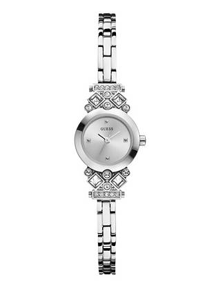 Dainty and feminine, this silver-tone timepiece is ideal for everyday. Crystal accents add a touch of glamour, making it the perfect gift to give or get.