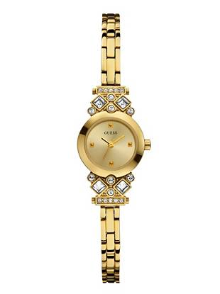 Dainty and feminine, this gold-tone timepiece is ideal for everyday. Crystal accents add a touch of glamour, making it the perfect gift to give or get.