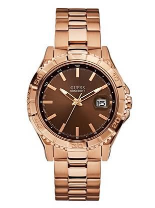 Sleek and sophisticated, this rose gold-tone watch is one that will never go out of style. The simple analog design and date function deliver a classic look and provide the essential elements every on-the-go guy needs.