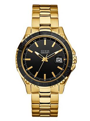 Sleek and sophisticated, this gold-tone watch is one that will never go out of style. The simple analog design and date function deliver a classic look and provide the essential elements every on-the-go guy needs.