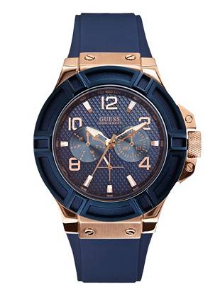 Blue and Rose Gold-Tone Rigor Standout Casual Sport Watch