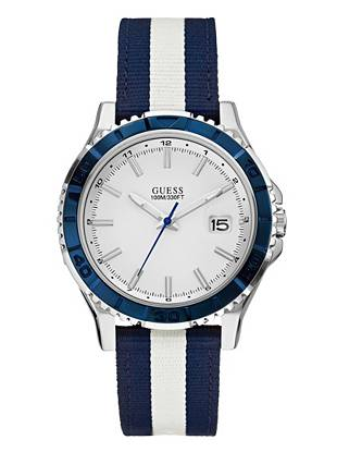 Add nautical appeal to your weekend looks with this sleek blue-and-white timepiece. The simple analog design complements the casual canvas strap, making this an accessory you'll wear through the summer season and beyond.