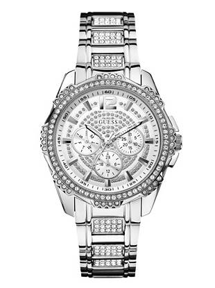 High-impact crystals make this dazzling silver-tone timepiece a must-have for every fashion lover. Wear it day or night for show-stopping glamour everyone will envy.