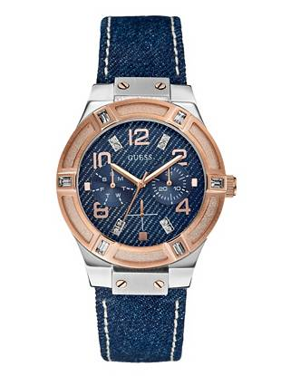 Silver and Rose Gold-Tone Denim Watch