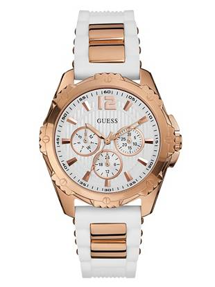 Adopt a sporty-chic approach to style with this supercharged rose gold-tone timepiece. White silicone details and a multifunctional design deliver of-the-moment appeal to this cutting-edge accessory.