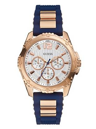 Adopt a sporty-chic approach to style with this supercharged rose gold-tone timepiece. Blue silicone details and a multifunctional design deliver of-the-moment appeal to this cutting-edge accessory.