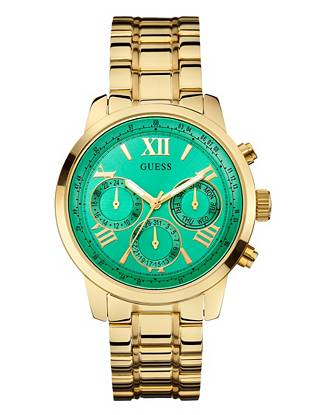 Effortlessly classic with an all-new flash of color, this gold-tone timepiece is topping our must-have list. The bold green dial makes a totally-on-trend statement that instantly complements your modern street-style looks.