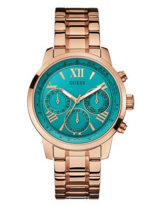 Effortlessly feminine, this gold-tone timepiece is topping our must-have list. The bold turquoise dial makes an eye-catching statement, instantly complementing your trend-driven style.