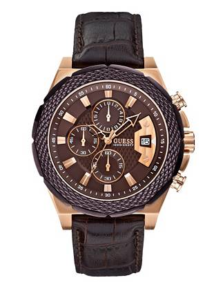 Rich in detail and design, this timepiece captures both rugged and sophisticated appeal. Rose gold tones stand out against the classic brown shade, creating a forward-thinking style that's perfect for the guy in the know.