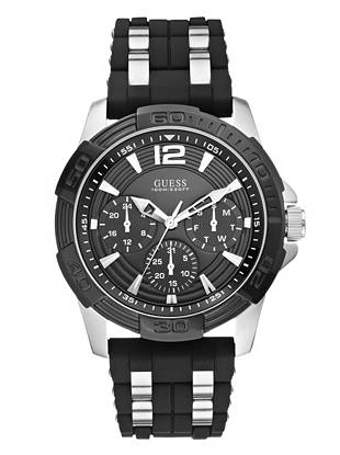 Black and Silver-Tone Masculine Sport Watch
