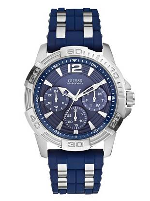 Blue and Silver-Tone Masculine Sport Watch