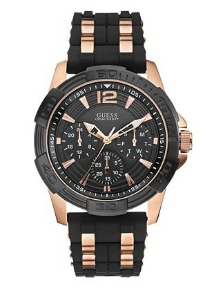 A rose-gold and matte black finish bring unparalleled style to this masculine timepiece. Commanding enough for office hours and bold enough for weekends.