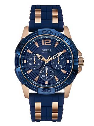 Blue and Rose Gold-Tone Masculine Sport Watch