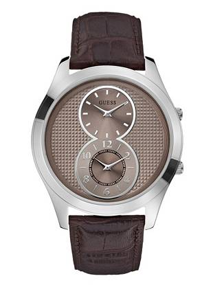 Unique and distinctive, this silver-tone timepiece is ideal for the on-the-go guy. The modern dual-time design lets you keep track of two time zones simultaneously so you're always in the know.