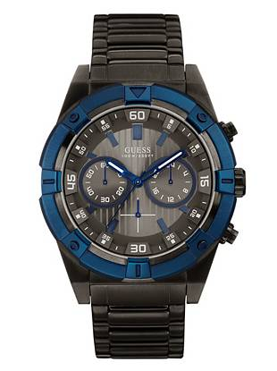 Blue and Gunmetal-Tone Bold Masculine Watch