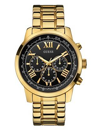 Give your everyday looks a sleek, powerful finish with this classic gold-tone watch. Featuring bold roman numerals and chronograph functions, it's one you'll wear year after year.
