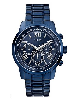 Give your everyday looks a sleek, powerful finish with this modern blue-tone watch. Featuring bold roman numerals and chronograph functions, it's one you'll wear year after year.