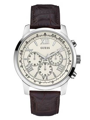 Brown and Silver-Tone Classic Chronograph Watch