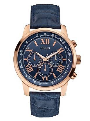 Classically modern, this blue and rose gold-tone timepiece is one you'll wear for years to come. Crocodile-grain leather and a multifunctional design make it the perfect addition to both your work and weekend wardrobes.