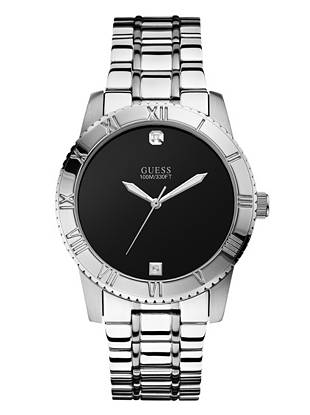 Explore the next level of sophistication with this silver-tone timepiece. Genuine diamond accents instantly elevate the iconic design, making it ideal for guy with a dapper sense of style.